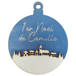 Boule de Noël village fond...