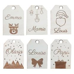 Lot de 6 étiquettes de Noël