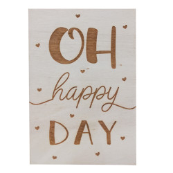 Carte en bois - Oh happy day