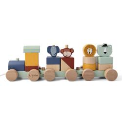 Train à blocs en bois -...