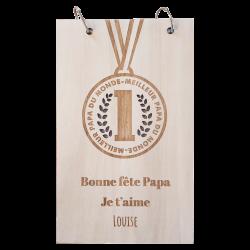 Bloc-notes en bois - Médaille