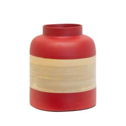 Pot décoratif en bambou rouge