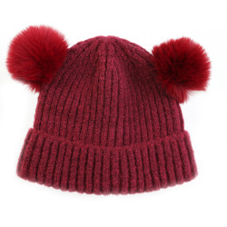 Bonnet deux pompons rouge