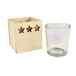 Photophore en bois avec verre