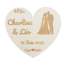 Badge cœur mariés