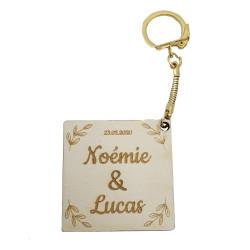 Porte-clés carré feuilles...