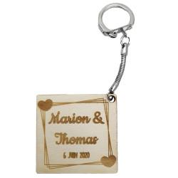 Porte-clés carré coeur