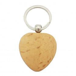 Porte-clés cœur en bois
